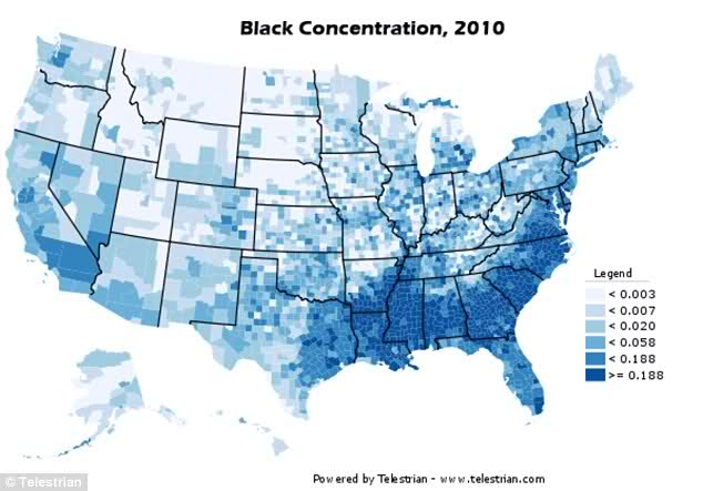 Concentration of American blacks, 2010